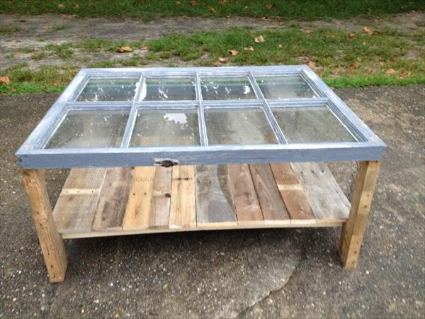 Charming Repurposed Old Window Pallet Coffee Table
