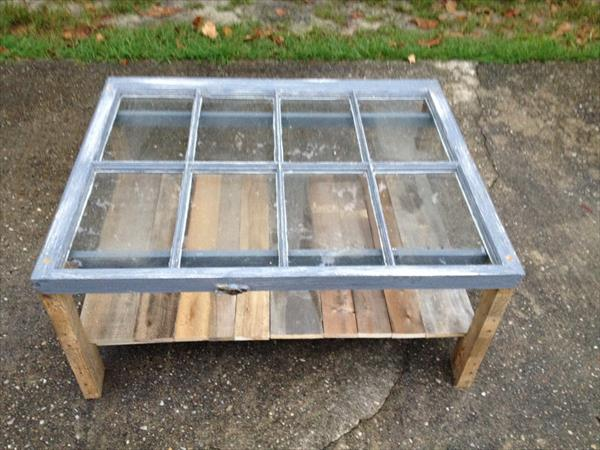 reclaimed old window pallet coffee table