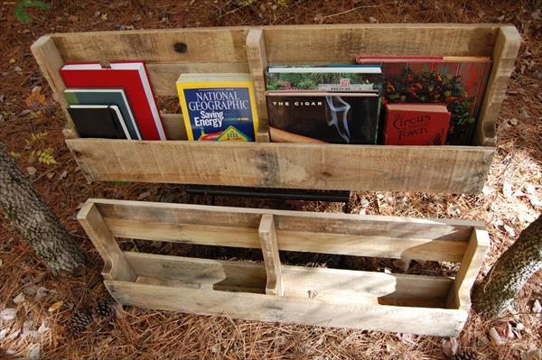 repurposed rustic pallet bookshelves