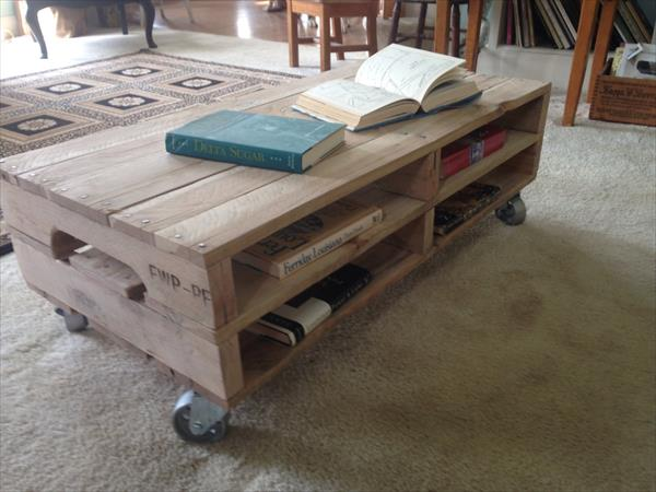 reclaimed pallet table with casters diy outdoor pallet coffee table ...