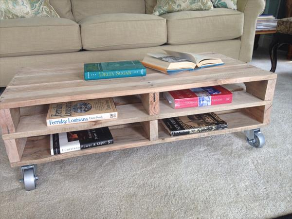 reclaimed pallet coffee table with storage