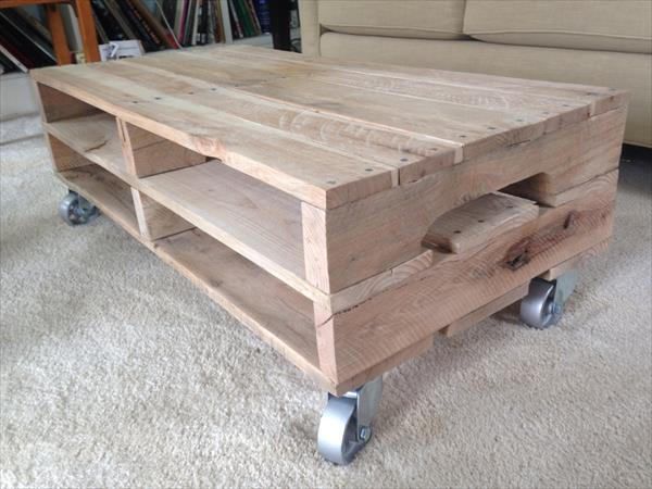 Pallet Coffee Table Plan With Casters Pallet Furniture Plans