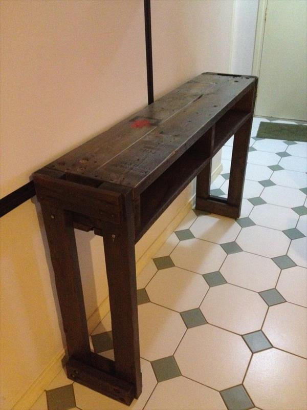 rustic pallet hallway table and side table
