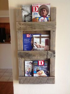 recycled pallet magazine rack