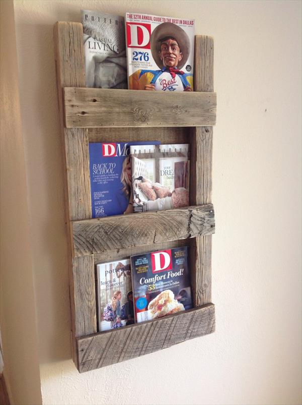 reclaimed pallet magazine rack