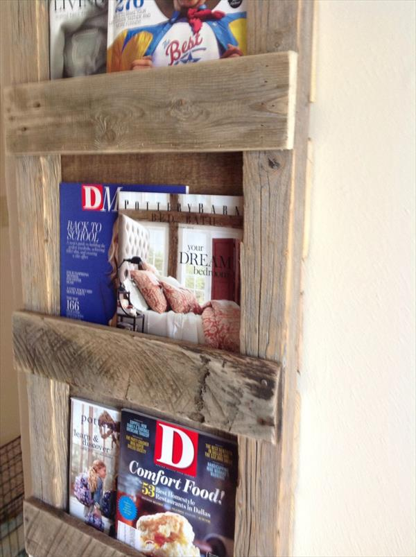 rustic pallet magazine rack