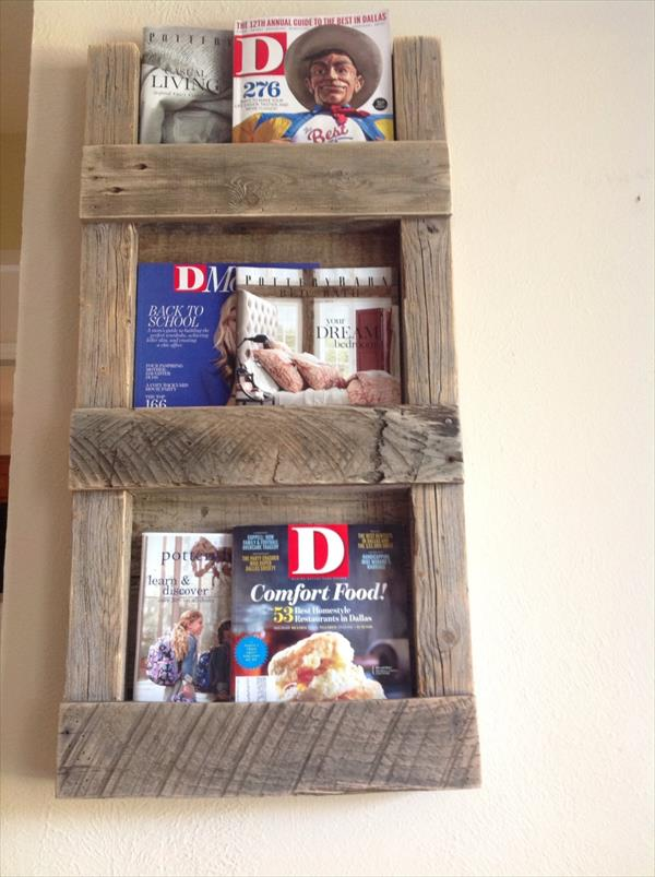 upcycled pallet magazine rack