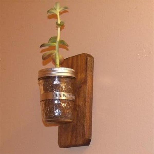 recycled pallet mason jar decors