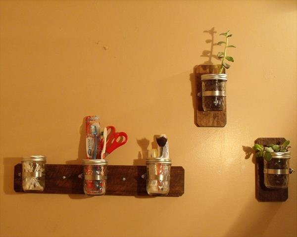 diy pallet mason jar decora and storage