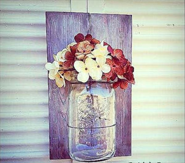 recycled pallet mason jar wall decor