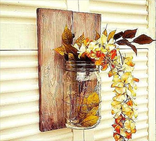 upcycled pallet mason jar wall decor