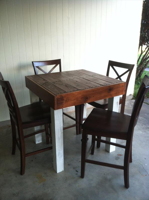 Pallet repurposed dining table pallet furniture plans for Repurposed dining table