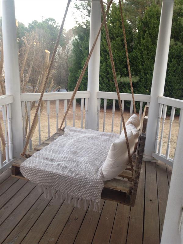rustic pallet bed swing