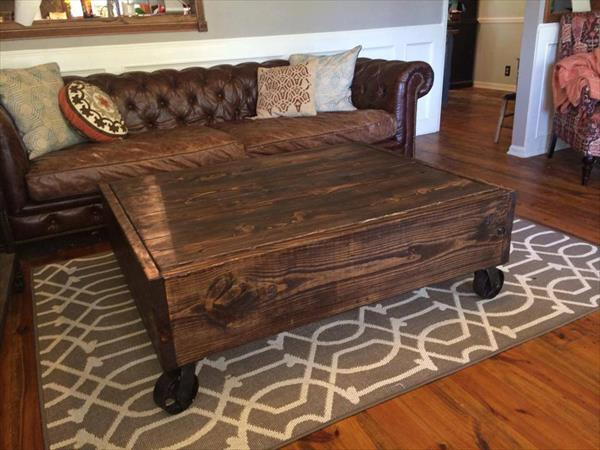Diy Rustic Pallet Industrial Coffee Table Pallet