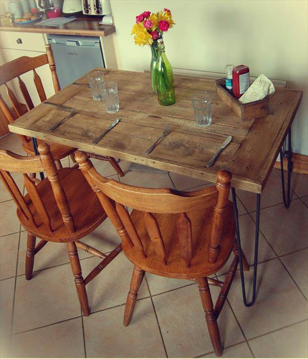 Diy Salvaged Wooden Pallet Dining Table Furniture Plans