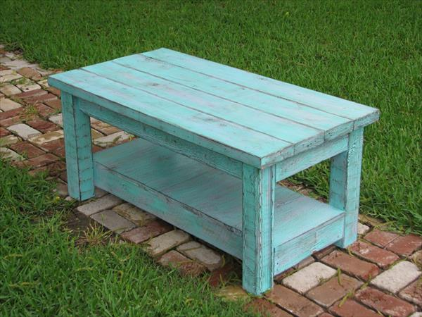 diy aqua pallet coffee table