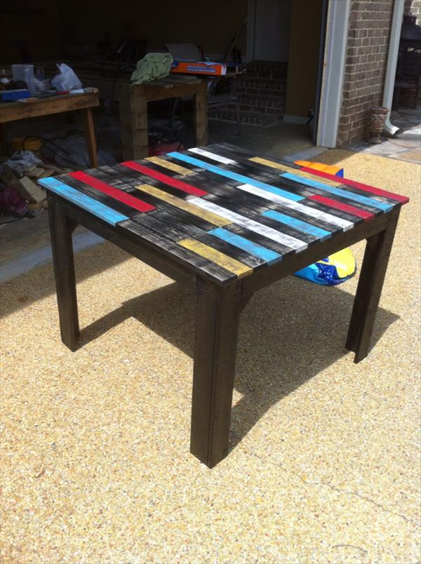 reclaimed pallet farmhouse table