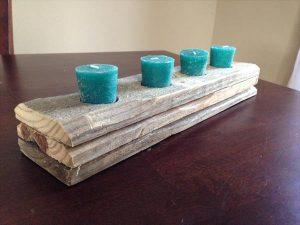 DIY Rustic Pallet Candle Holder