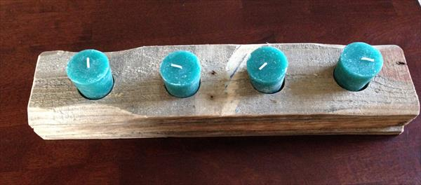 upcycled rustic pallet candle holder