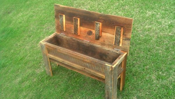 recycled pallet bench with storage