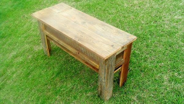 diy pallet bench with storage