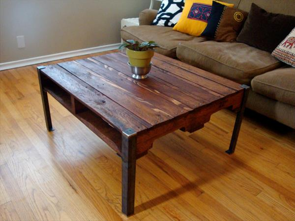 DIY Pallet Wood Table With Steel Legs Furniture Plans