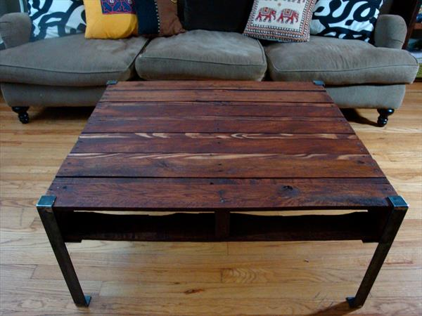diy pallet coffee table with metal legs