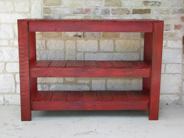 reclaimed pallet console and entry table