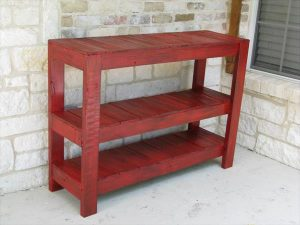 DIY Rustic Red Console or Entryway Table