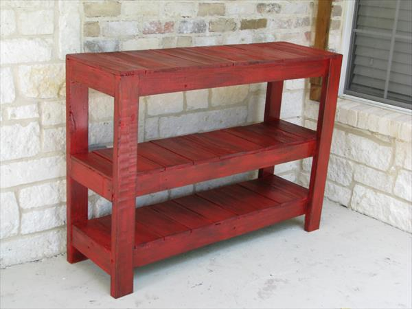 Diy Rustic Red Console Or Entryway Table Pallet Furniture