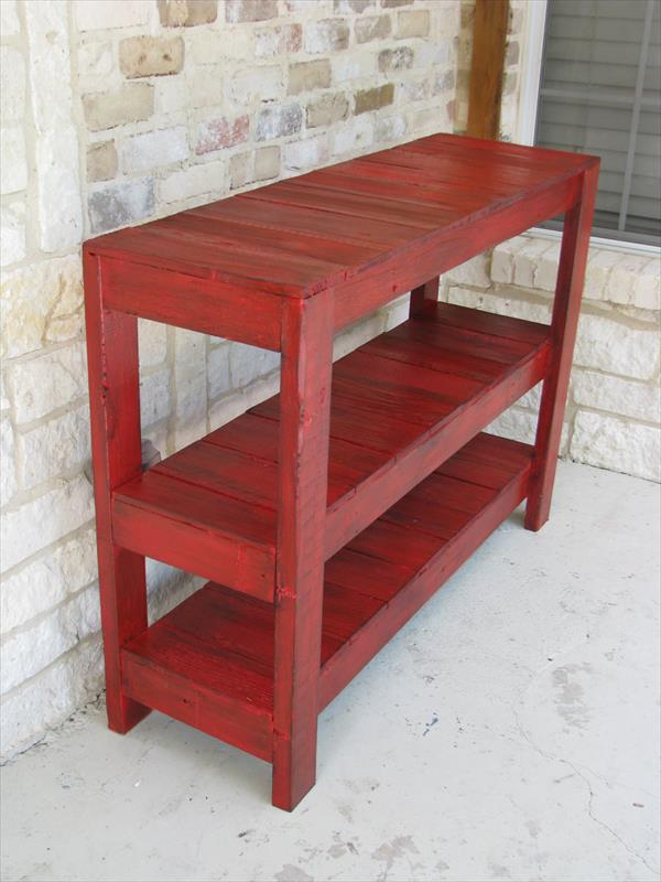 Foyer Furniture Plans : Diy rustic red console or entryway table pallet