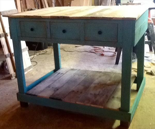 recycled pallet kitchen island with drawers