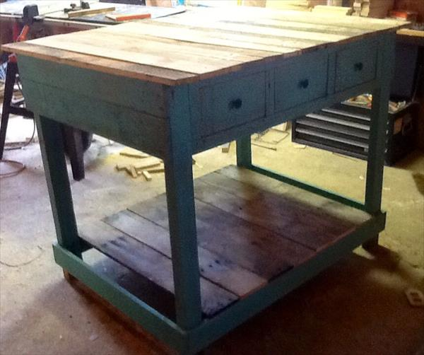 reclaimed pallet kitchen island with drawers