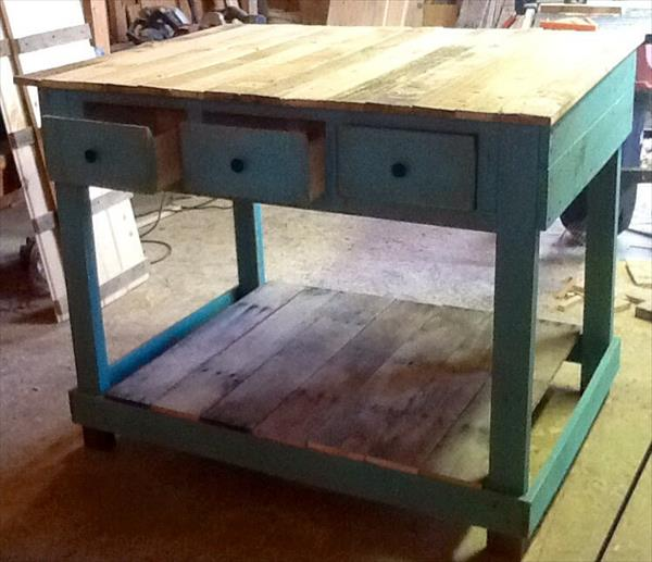 DIY Pallet Kitchen Island with Drawers - Pallet Kitchen Island Pallet Furniture Plans
