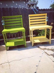 DIY Colorful Pallet Potting Benches