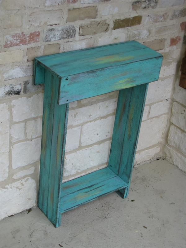 handmade aqua side table