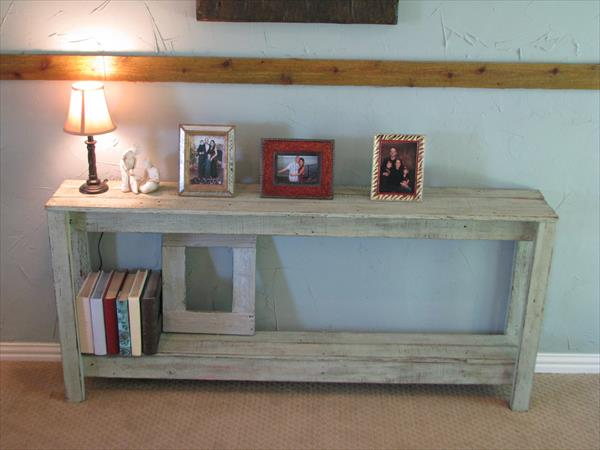 Diy rustic pallet sofa table pallet furniture plans for Sofa side table designs