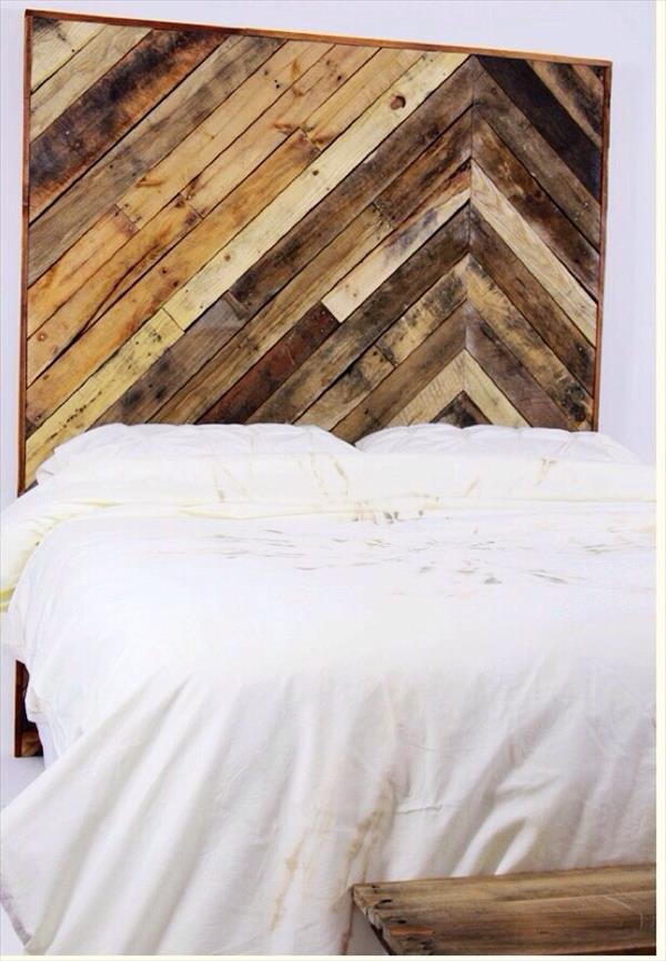 rustic pallet chevron twin bed