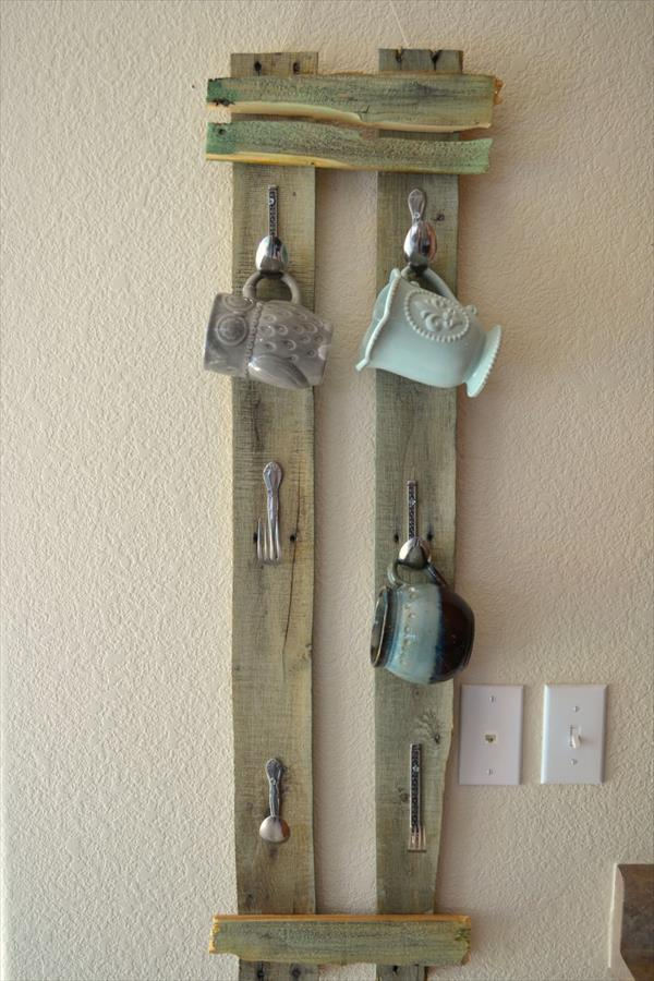 recycled pallet mug rack with spoon hooks