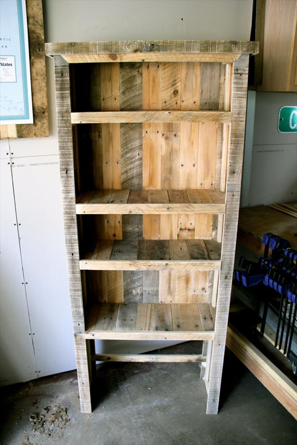 diy recycled pallet bookcase diy pallet bookshelves pallet wood ...