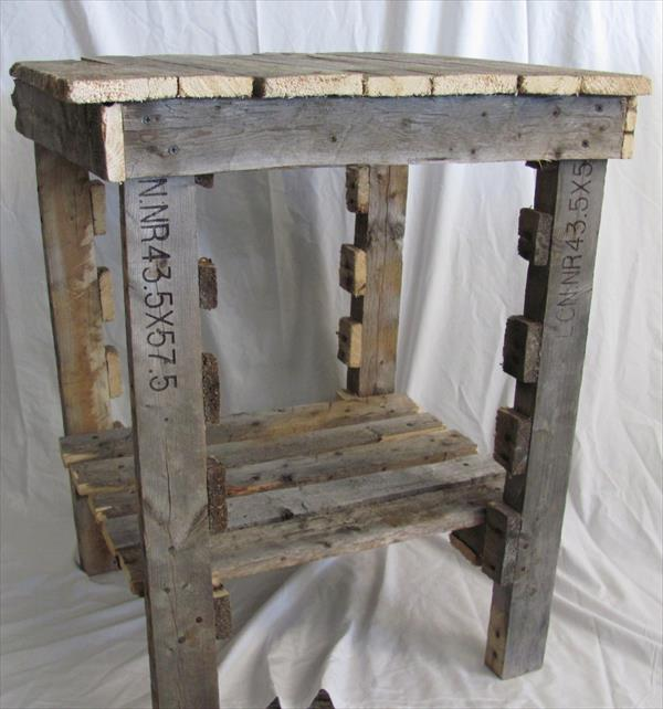 recycled pallet rustic side table