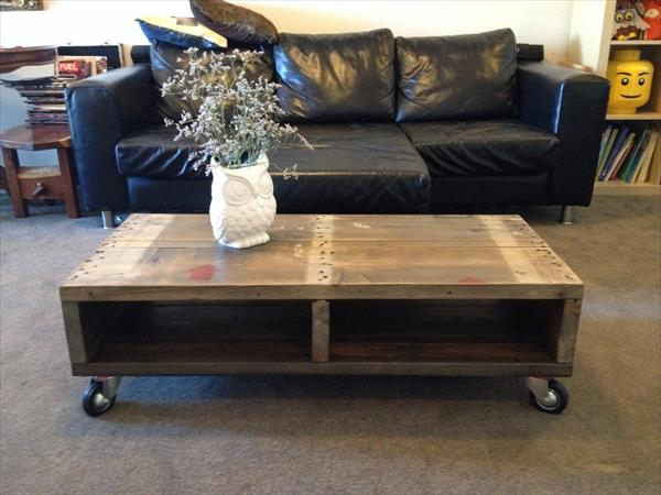 DIY Industrial Pallet Coffee Table Furniture Plans