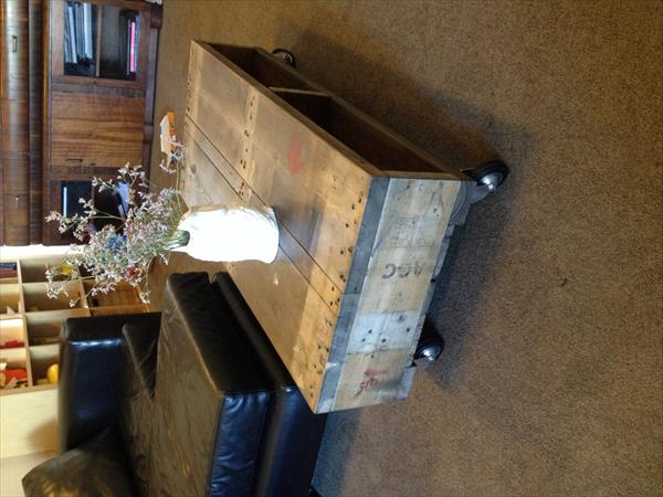 reclaimed pallet industrial coffee table
