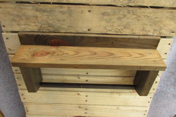 handcrafted pallet shelf and towel rack
