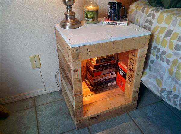 recycled pallet nightstand | pallet furniture plans How to Make a Nightstand out of Wood