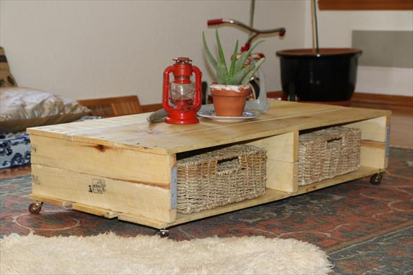 Coffee table with removable legs pallet furniture plans - Faire table basse en palette ...