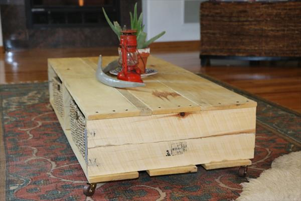 reclaimed pallet coffee table with casters