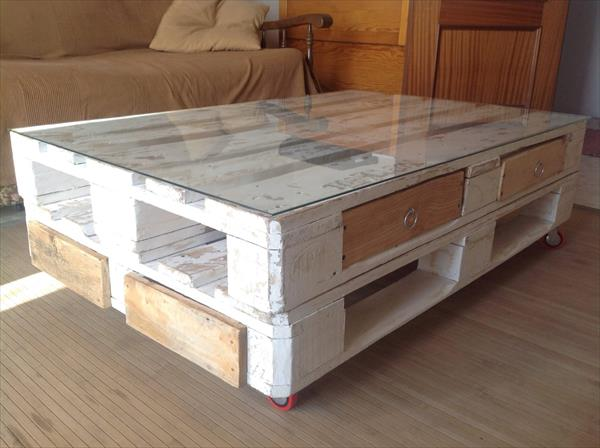 recycled pallet coffee table with drawers