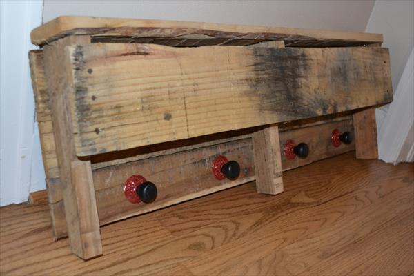 reclaimed pallet shelf with knobs
