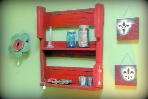 DIY Rustic Red Pallet Shelving